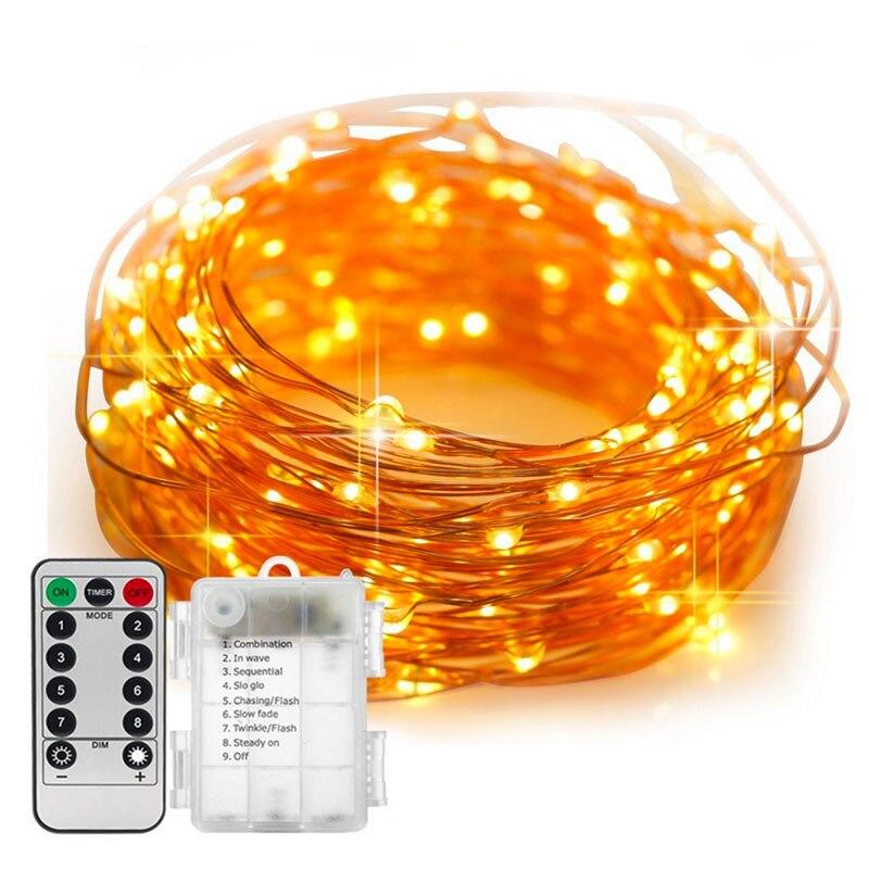 5/10 M impermeable Control remoto luces de hadas de la batería operada LED luces decoración 8 modo temporizador de cadena de alambre de cobre alambre navidad