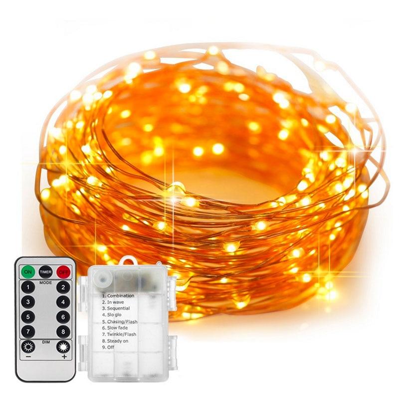 5/10 mt Wasserdichte Fernbedienung Lichterkette Batterie Betrieben Led-leuchten Dekoration 8 Modus Timer String Kupfer Draht weihnachten