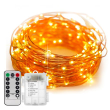 5M 10M Remote Control Waterproof Baterai Dioperasikan 8 Mode Jangka Waktu Dimmable Kawat Tembaga Firefly String Lights Warm White