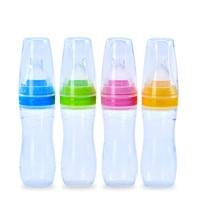 High Quality Safe Silicone Extrusion Type Baby Infant Feeding Rice Paste Feeding Spoon Plus Dropper Type