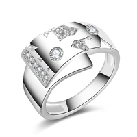 Sterling Silver Jewelry Men Ring  Silver Rings Cubic Zirconia Anillos Bague R63