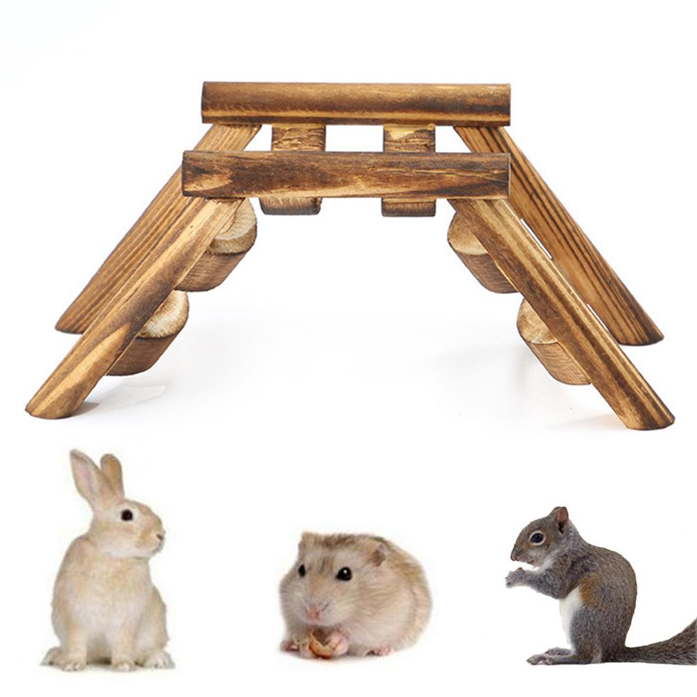 Wooden Pet Mouse Bird Hamster Bridge Relieve <font><b>Boredom</b></font> Climbing Ladder Exercise Game Stairs Toy Игрушка хомяк бридж image