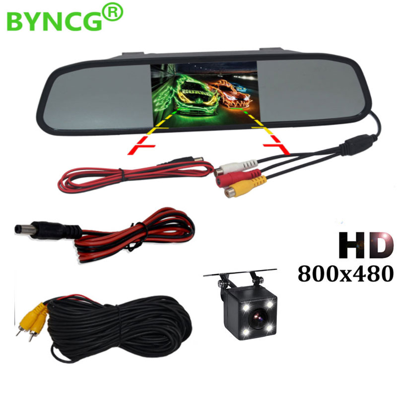 BYNCG 5 Inch Car Rearview Mirror Monitor Auto Parking Vedio + LED Night Vision Backup Reverse Camera CCD Car Rear View Camera
