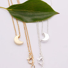 Simple Cute Gold Silver Moon Pendant Necklace Women Fashion Long Clavicle Chain Necklace Jewelry
