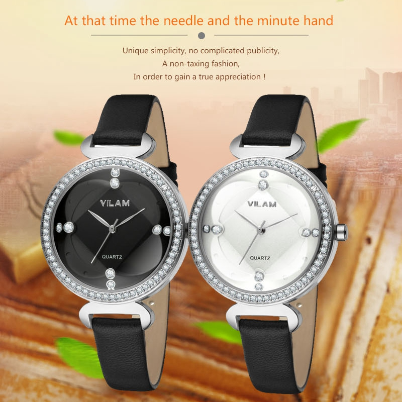 Female Wrist Watches Women Clock Ladies Wristwatch Crystal Diamond Girl Student Fashion Lather strap Quartz Dress Watch 9888