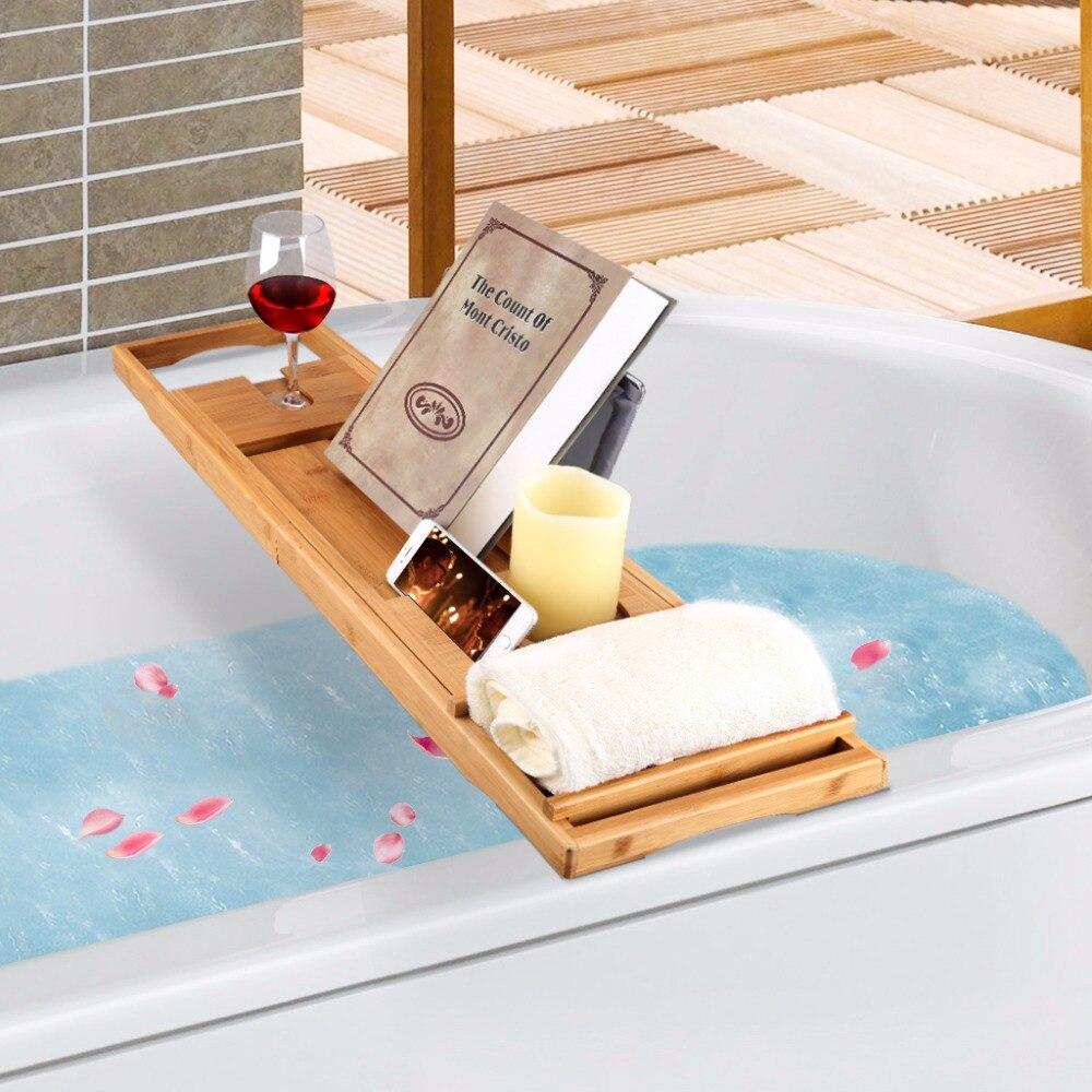 Multifunctional LANGRIA Bamboo Bathroom Shelves Bathtub Caddy Over ...