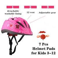 7 pçs capacete almofadas para crianças 3-12 anos criança crianças skate capacete joelho cotovelo pulso para scooter esportes radicais ajustáveis