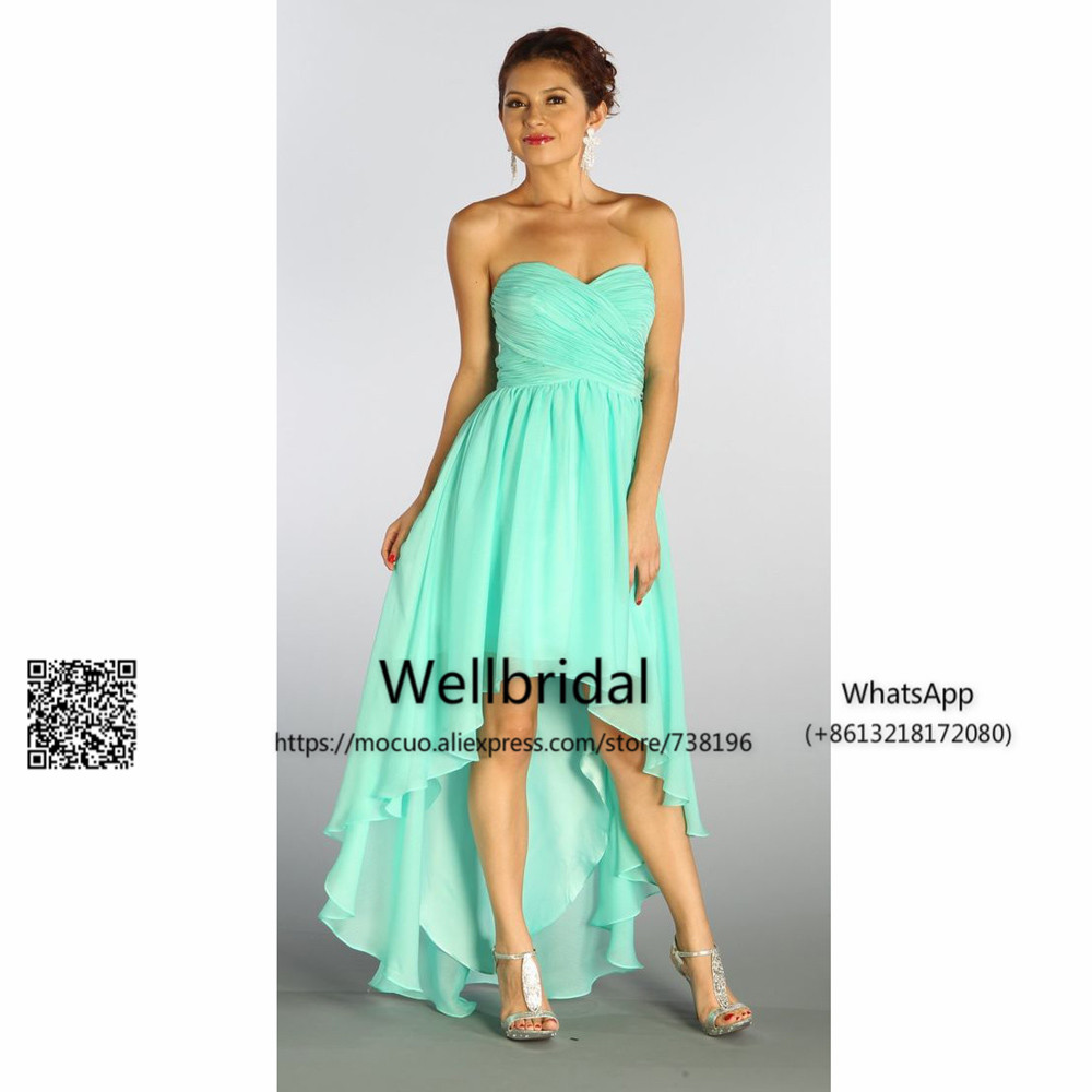 New 2017 Mint Hi Lo   Bridesmaid     Dress   Off shoulder Wedding Ceremony   Dress   Maid of Honor Chiffon Wedding Party   Bridesmaid     Dresses