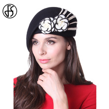 e4f7d6dedf6 FS Winter Women Hat Ladies Felt Beret 100% Wool Casual Fashion Hat Black Elegant  Floral