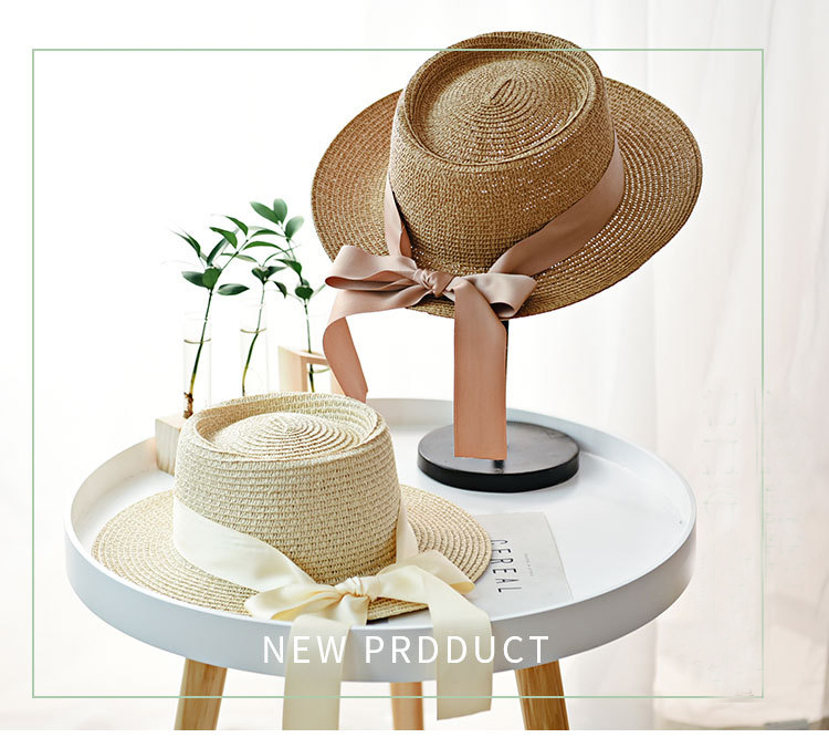 HTB1maMaaPDuK1Rjy1zjq6zraFXaY - Ymsaid New Summer Sun Hats Women Fashion Girl Straw Hat  Ribbon Bow Beach Hat Casual Straw Flat Top Panama Hat Bone Feminino