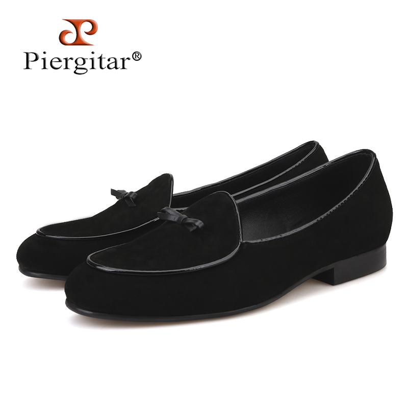Piergitar 2018 new Black and Brown Cow suede men handmade loafers Fashion Prom and wedding men's casual shoes big size men flats piergitar fashion men suede shoes handmade men loafers for party and wedding prom breathable leather insole slip on men s flats