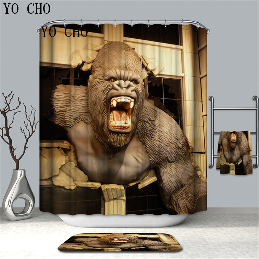Funny Monkey Orangutan Animal Polyester Fabric Shower Curtain Set Bathroom Decor