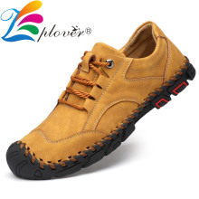 High Quality Handmade Men Shoes Cow Leather Casual Shoes Men Flats Outdoor Comfortable Lace-up Mocassins Shoes Plus Size 38-46 цена