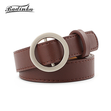 Badinka 2018 New Designer Round Circle Buckle Belt Waist Band Woman Black White Pink Faux Leather Belts for Women Jeans Straps