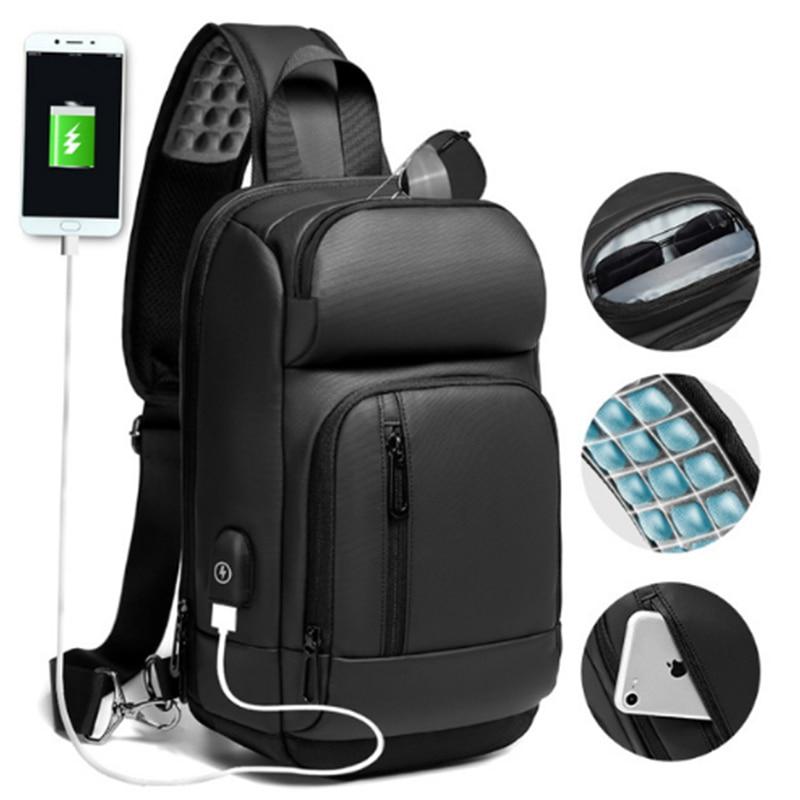 NIGEER Black Chest Pack Men Casual Shoulder Crossbody Bag USB Charging Chest Bag Water Repellent Travel Messenger Bag Male n1820 nigeer men chest bag casual shoulder