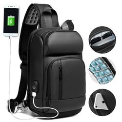 NIGEER Black Chest Pack Men Casual Shoulder Crossbody Bag USB Charging Chest Bag Water Repellent Travel Messenger Bag Male n1820
