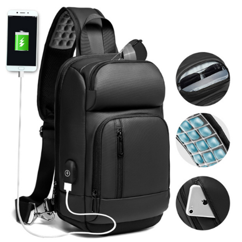 NIGEER Schwarz Brust Pack Männer Lässig Schulter Crossbody-tasche USB Lade Brust Tasche Wasser Abweisend Reise Umhängetasche Männlichen n1820
