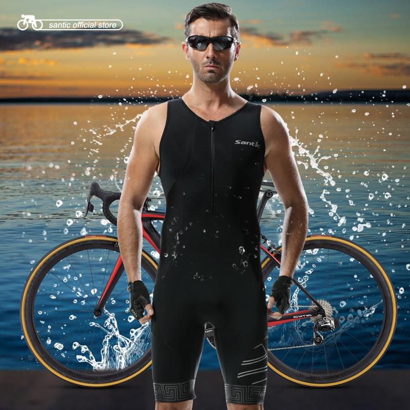 Santic Men Triathlon Cycling Padded Jerseys One Piece Summer Black Running Swimming Cycling Jerseys Cycling Clothings M5C03007H santic black triathlon clothing men