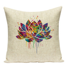 Zen Linen Printed Pillowcase Folk Style Watercolor Cushions Decorative Pillow Home Decor Sofa Throw Pillows