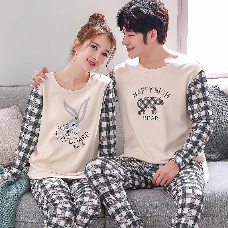 7e054a2f Conjuntos de pijamas para parejas geométricos 100% algodón dibujos animados  moda mujer manga larga ropa de dormir traje 2 piezas Sexy primavera ...