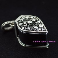 Thailand imports 925 Sterling Silver Skull wrapped 10 times the magnifying glass glass pendant jewelry