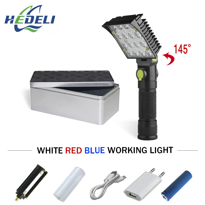 16 led flashlight cob work white red blue light car repair work light USB 18650 torch built-in magnet hook tent camping lamp все цены