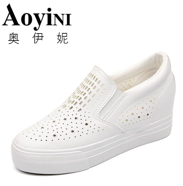 NEW 2018 Fashion Crystal Split Leather Women Loafers Flats Shoes Women Casual Slip On Platform Wedges Shoes Ladies Comfort Shoes new hot 2018 fashion brand women cartoon loafers flats shoes woman casual slip on platform shoes ladies comfort shoes size 35 40