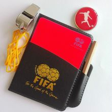 Football Referee Wallet Red Yellow CARDS Judge Soccer and Other Sports Coach use + Points Edge Detector + Metal Whistle
