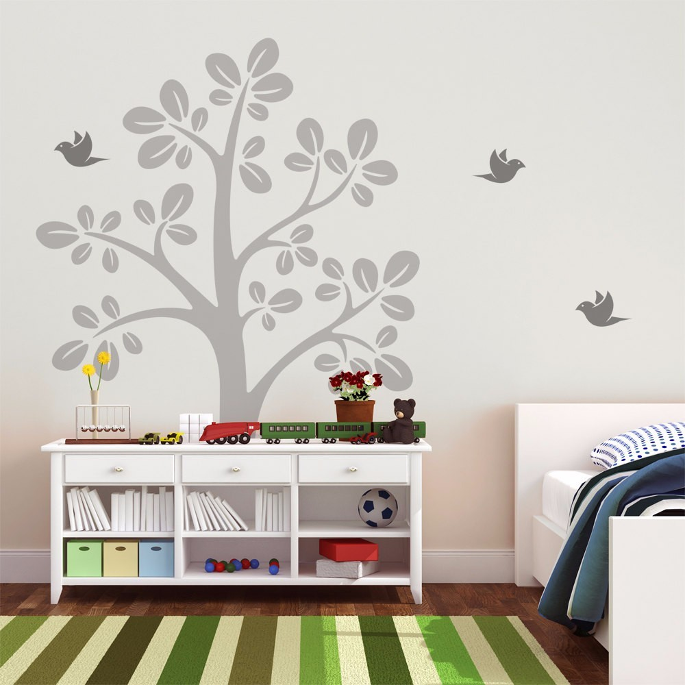 Huge Tree With Flying Birds Vinyl Wall Decal - Kids Nursery Tree Wall Sticker - Baby Bedroom Wall Art Decor Creative Decal W-833