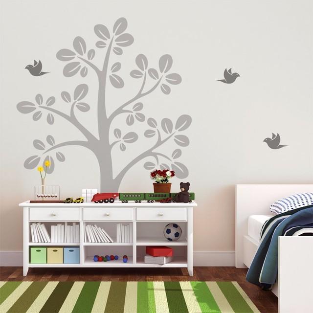 Huge Tree With Flying Birds Vinyl Wall Decal   Kids Nursery Tree Wall  Sticker   Baby