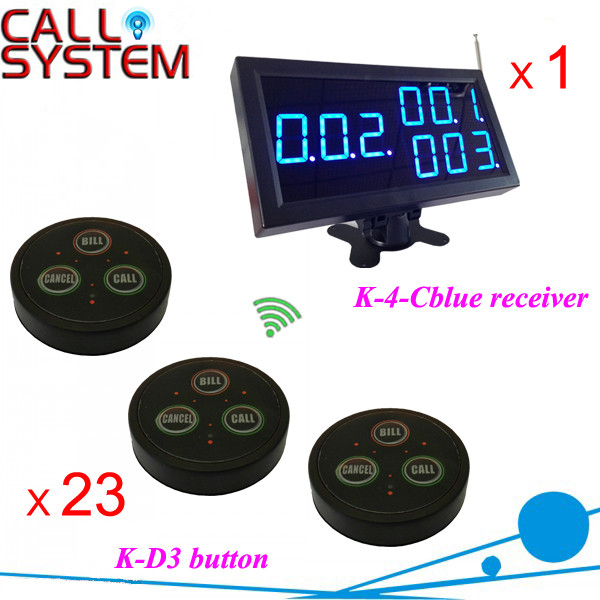 K-4-Cblue+D3-Black 1+23 Wireless table call bell system