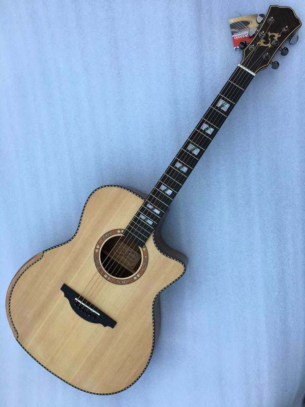 Auditorium cutway 40inch acoustic electric guitar with radian corner factory guitarra sharp cutway acoustic guitar 40inch high quality with free string