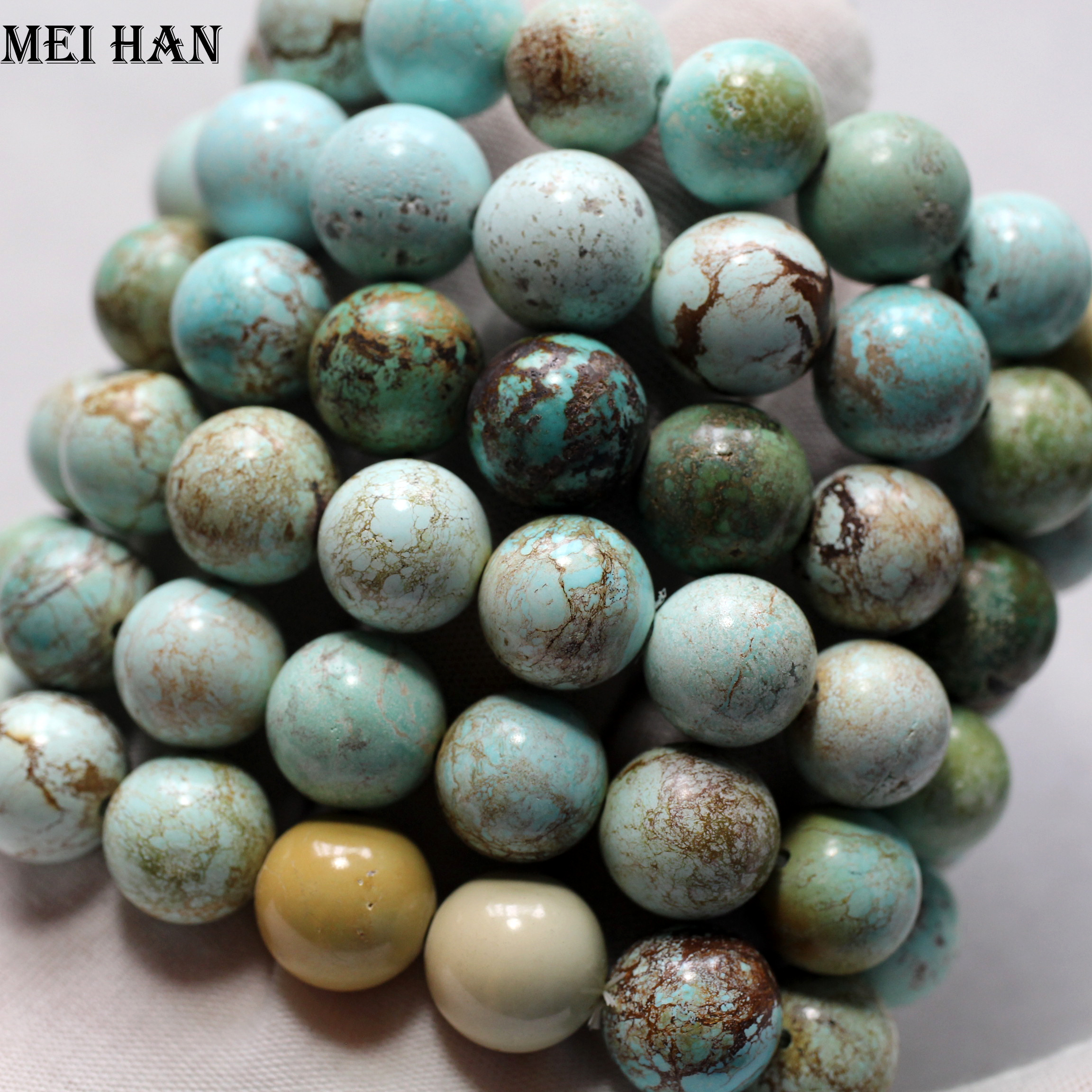 Meihan wholesale 13 13 5mm 14 beads 37g set rare Natural Hubei Turquoisee untreated ore biriuza