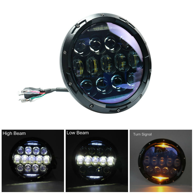 1PC 7Inch 130W Round LED Headlights Blue Projector Lens with Hi-Lo Beam White DRL Amber Turn Signal for Jeep Wrangler JK LJ TJ1PC 7Inch 130W Round LED Headlights Blue Projector Lens with Hi-Lo Beam White DRL Amber Turn Signal for Jeep Wrangler JK LJ TJ