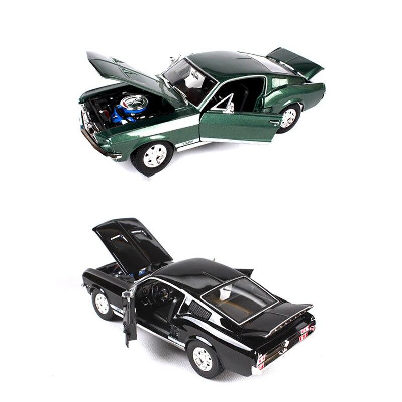 1:18 Ford 1967 Mustang GTA Fastblack автомобиль черный и зеленый цинковый сплав автомобиля Модель Отлитая под давлением для коллекции мальчиков Игрушки По...