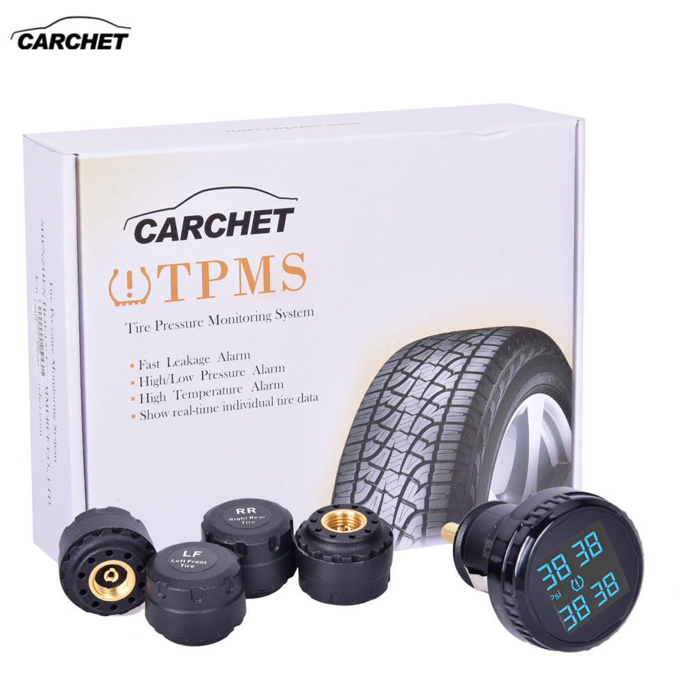 CARCHET Car Tire Pressure Alarm TPMS Tire Pressure Monitoring System 0-116PSI 0-8BAR Wireless 4 Sensor with Cigarette Lighter luminous glow ignition switch decoration key ring sticker for skoda octavia fabia yeti vw passat bora polo golf 6 jetta mk5 mk6