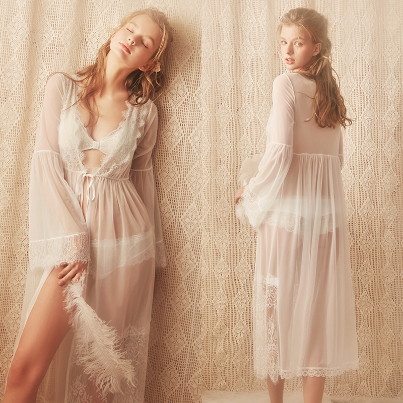 Lace Robe Woman Robe Bride Bridesmaid Dressing Gown Long Sexy Bathrobe Pink White - 3