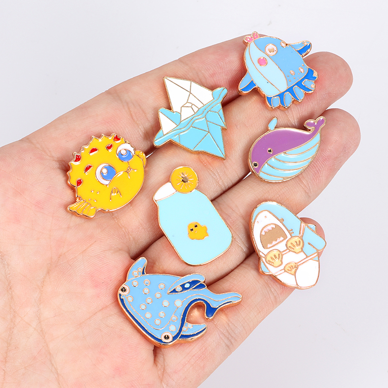 Swim Right!Cute brooch Whale Shark Narwhal Octopus Puffer fish Hard iceberg enamel pin badge cartoon Jewelry children gift in Brooches from Jewelry Accessories