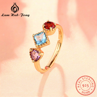 Natural Gradation Color Multi Gemstone Ring Citrine Garnet Amethyst Pure 925 Sterling Silver Ring Fine Jewelry Presents Gift