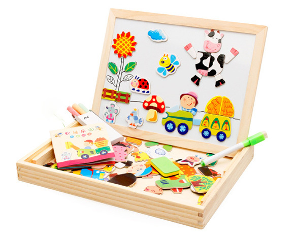 Kids Toy Multifunctional Magnetic Puzzle Writing Board Drawing Double Easel Toys Wooden Toys For Children 66