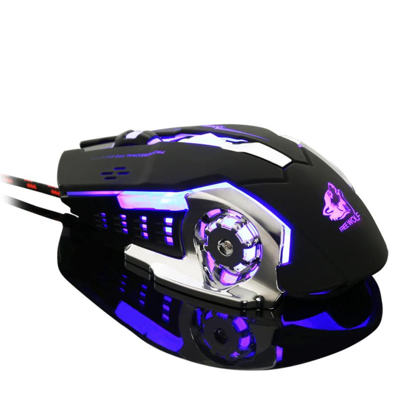 Wired LED Light 4000DPI Optical Ergonomic Pro Gamer Gaming Mouse Metal Plate