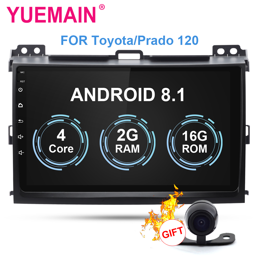 YUEMAIN Multimídia de Carro Para Toyota Land Cruiser Prado 120 2004-2009 2din Android 8.1 9 polegada Rádio leitor de Cassetes acessórios DVR