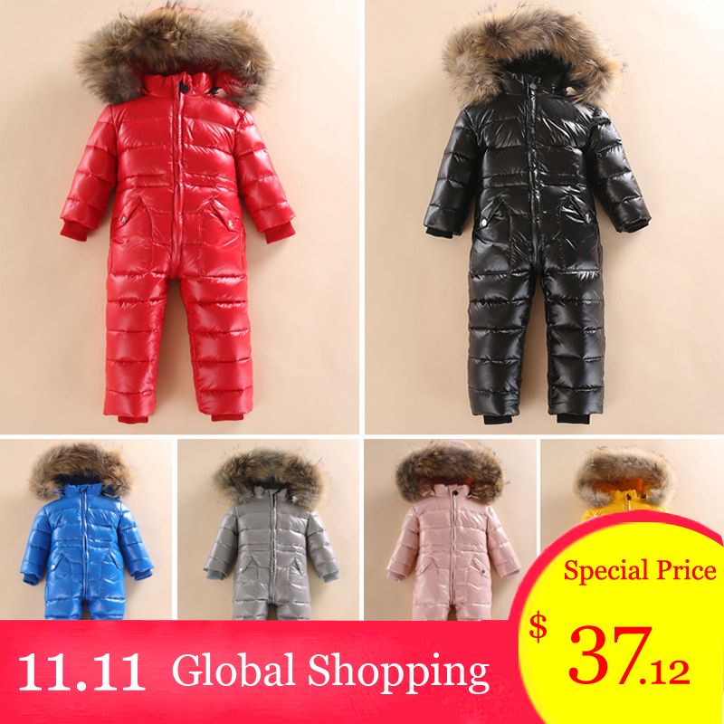 -30 Russian Winter Snowsuit 2018 Boy Baby Jacket 80% Duck Down Outdoor Infant Clothes Girls Climbing For Boys Kids Jumpsuit 2~5y the love of cat and mouse boy girl cartoon duck down jacket jumpsuit jackets baby snowsuit kids clothes 03