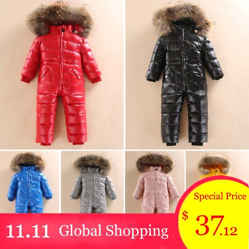 -30 ruso de nieve de invierno para 2018 bebé niño chaqueta de pato 80% al aire libre ropa de bebé niñas escalada para niños mono mono 2 ~ 5y