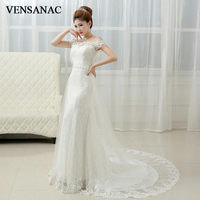 VENSANAC 2018 Crystal Boat Neck Lace Embroidery Mermaid Wedding Dresses Pearls Sash Sweep Train Backless Bridal Gowns