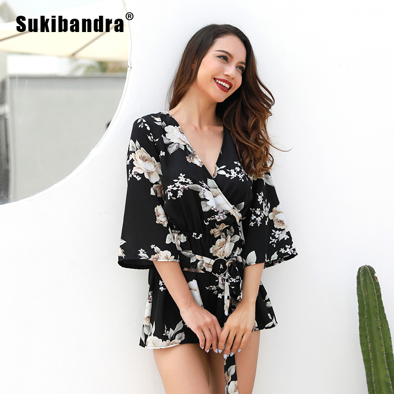 Sukibandra Summer Black Floral Print Half Sleeve V Neck Short Playsuit Lace Up High Waist Vintage Beach Rompers Womens Jumpsuit