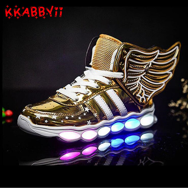 6048b9c85560 2018 New USB Charging Wing Led Children Shoes With Light UP Kids Casual  Boys Girls Sneakers Glowing Shoe EU Size 25-36
