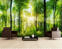 Custom Natural Wallpaper Forest Panoramic With Sunbeams 3D Modern Wallpaper For Living Room Bedroom Restaurant Wall