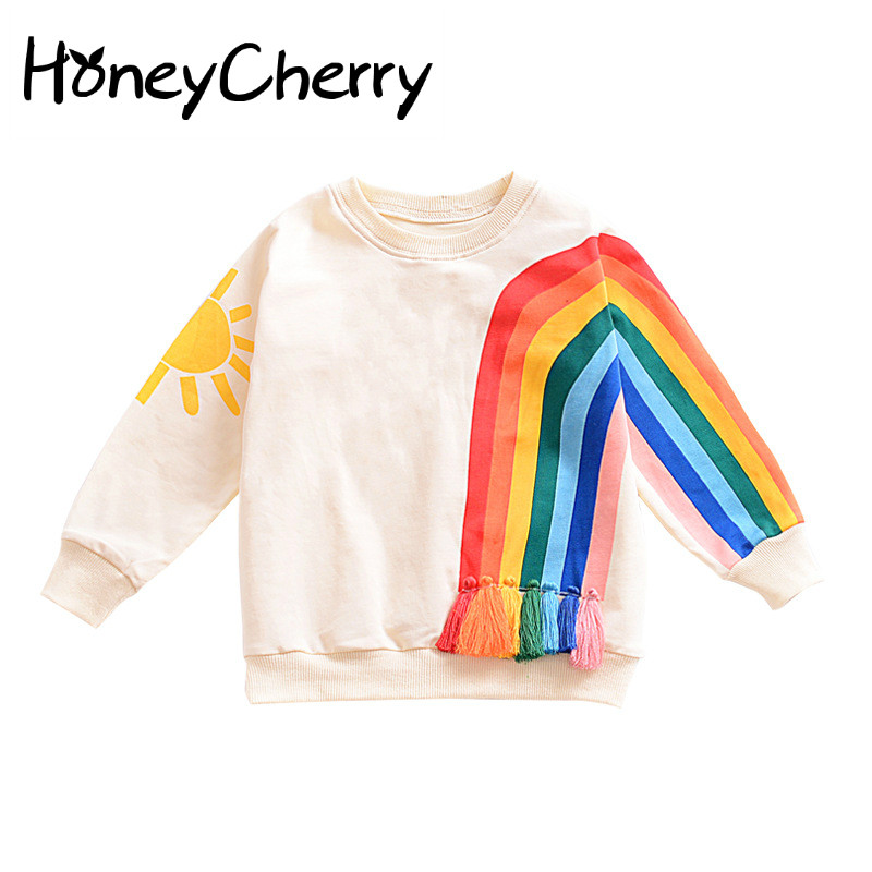 2017 New Winter Explosion Of Small Children Fringed Rainbow Sun Pattern Europe Long Sleeved Sweater T
