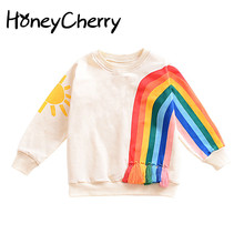 2017 New Winter Explosion Of Small Children Fringed Rainbow Sun Pattern Europe Long Sleeved Sweater T-shirt